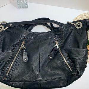 B. Makowsky Black Leather shoulder Bag
